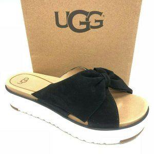 UGG Platform Bow Slides Black Sandals